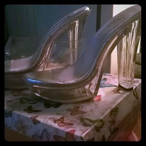 Clear heels with small platform